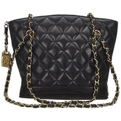 Chanel Black Chain Matelasse Tote Bag
