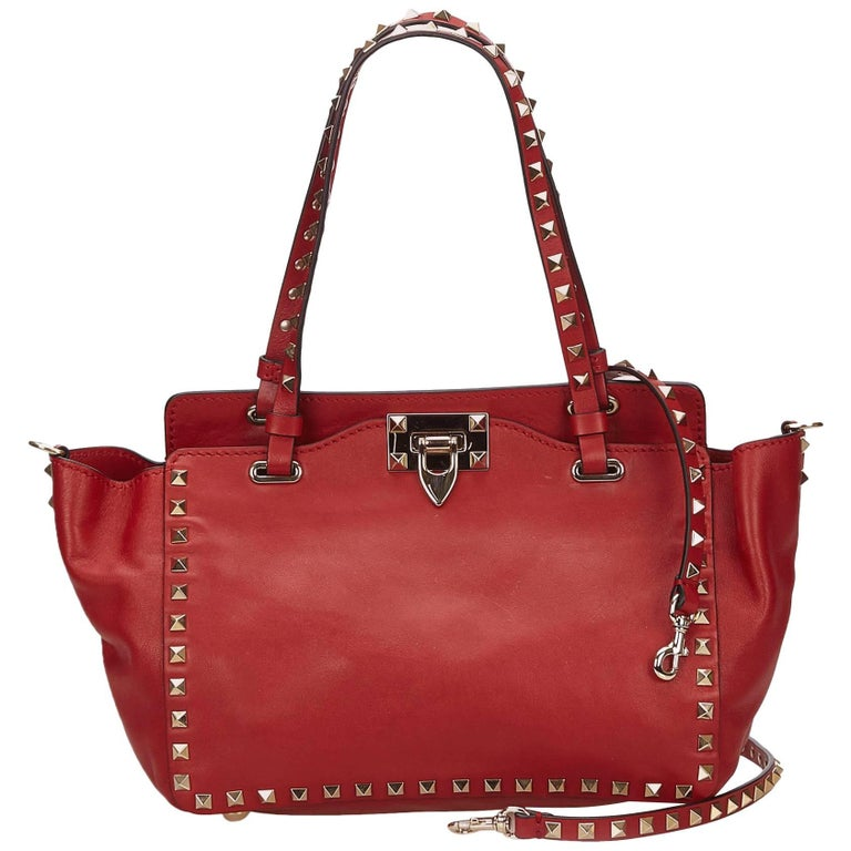 Valentino Red Small Rockstud Tote Bag For