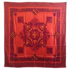 HERMES 'Psyché' Lagre Scarf in Multicolored Silk.