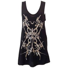BALMAIN Long T-Shirt or Dress in Black Embroidered Cotton and Cashmere