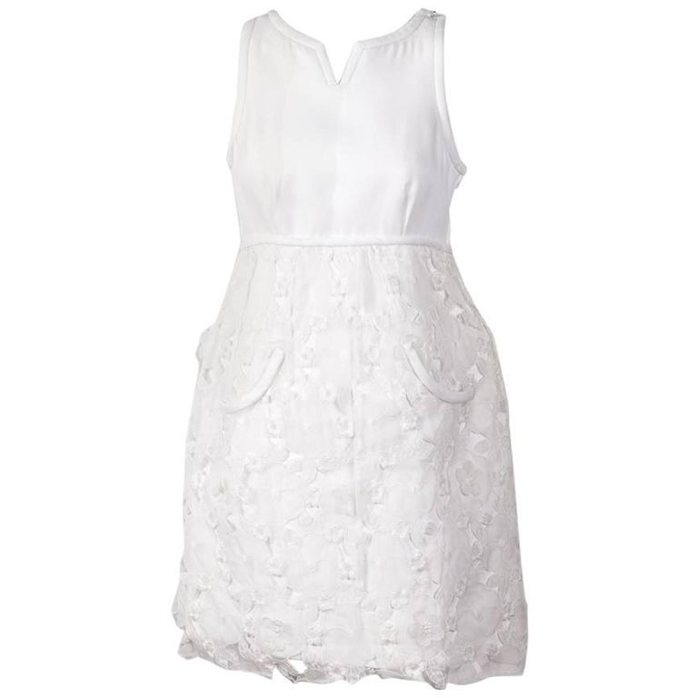 COURREGES Vintage White Dress in Polyester and Floral Organdi Floral Lace 36FR
