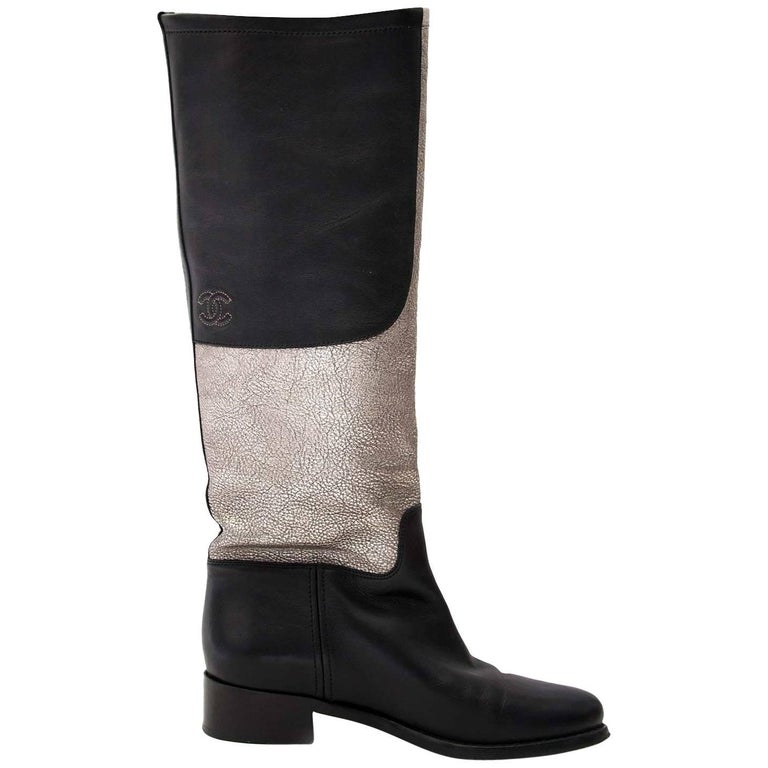 Chanel Black And Silver Leather Tall Riding Boots