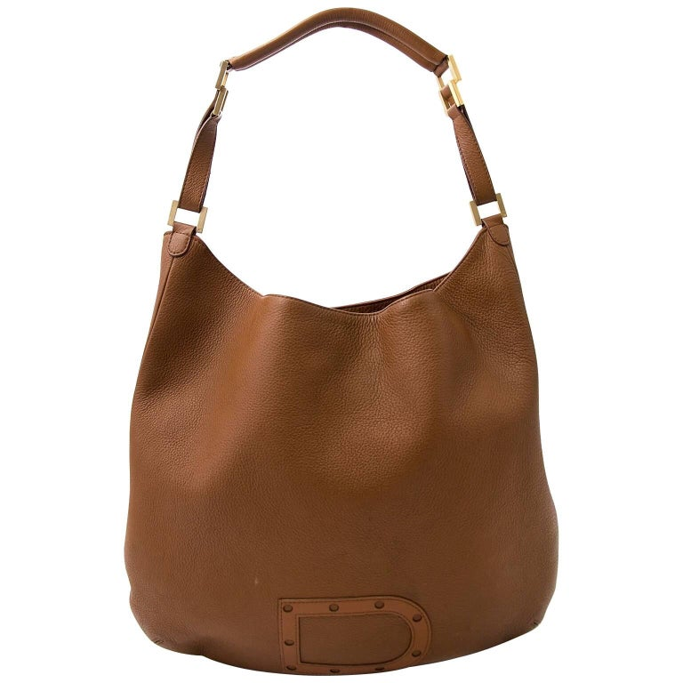 Delvaux Cognac Louise GM Shoulder Bag