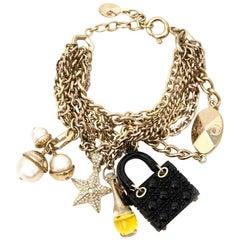 Christian Dior Lady Dior bag J'Adior perfume CD emblem Charm Bracelet