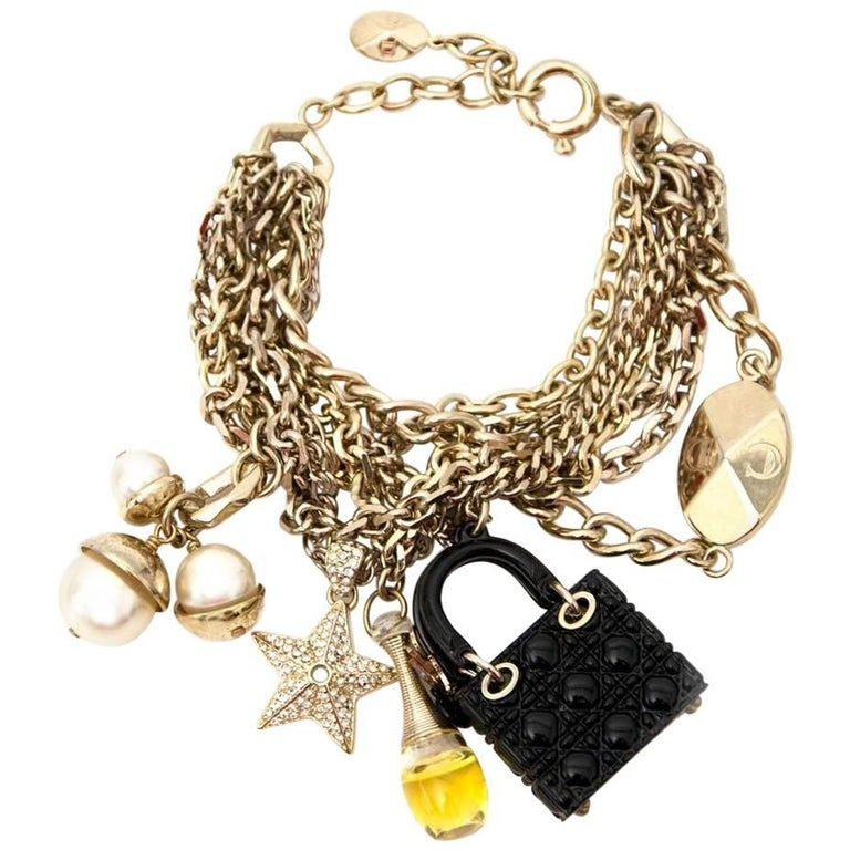 Dior Lady Bag J Adior Perfume Cd Emblem Charm Bracelet For