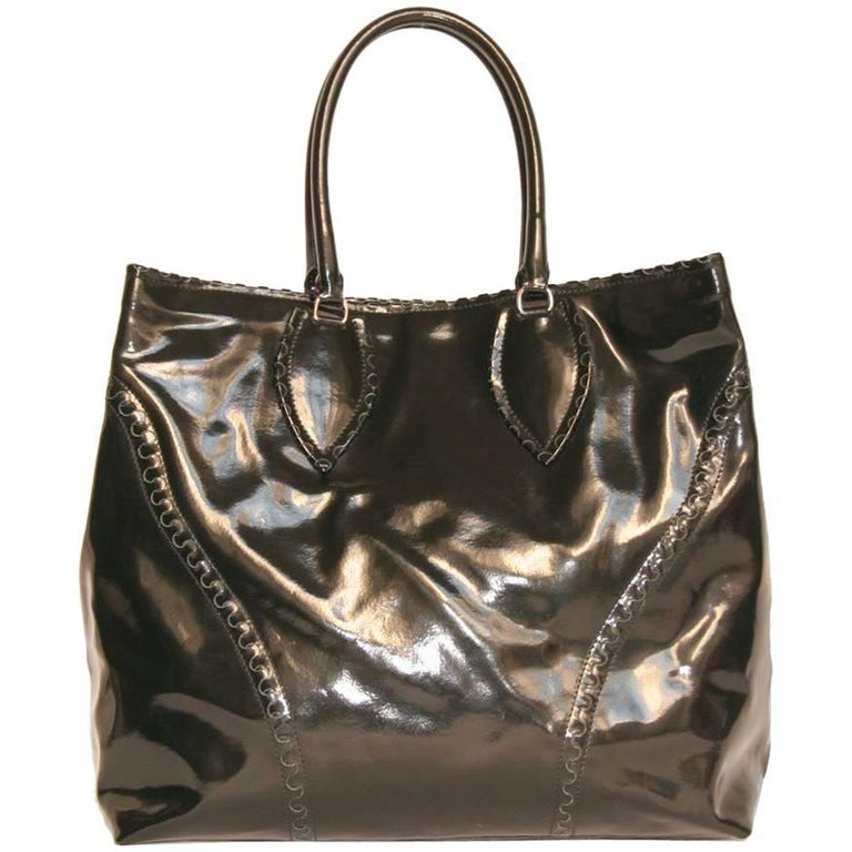 ALAÏA Large Tote Bag in Black Patent Leather