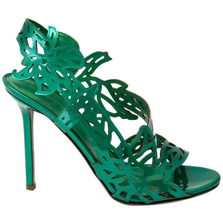 Sergio Rossi Patent Green Cut-Out Sandals