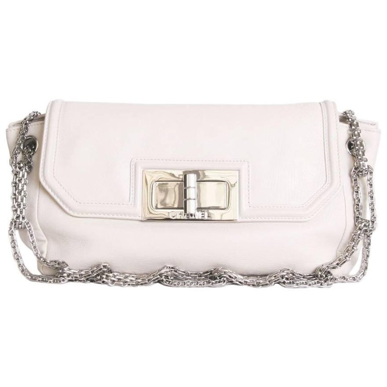 Chanel Bag in Soft Ivory Lamb Leather with Big 2.55 Clasp