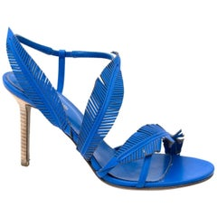 Sergio Rossi Blue Heel Leaf Detail Sandals