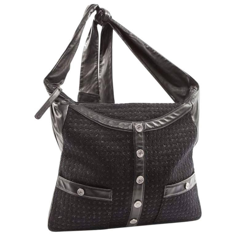 61ab1734f9f2 CHANEL  Girl  Bag in Black and Shiny Tweed and Lambskin For Sale at ...