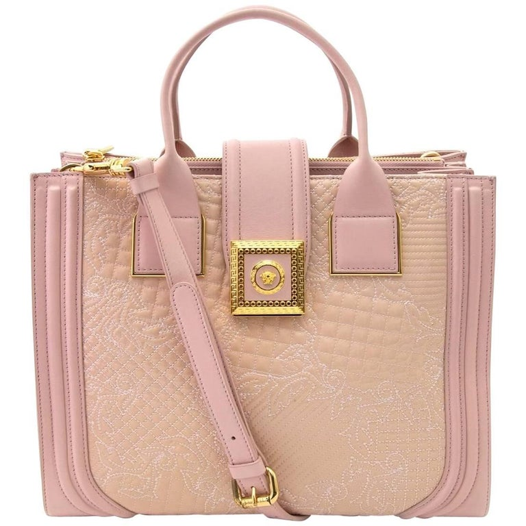 Versace Pink Powder Icon Quilted And Patent Leather Bag