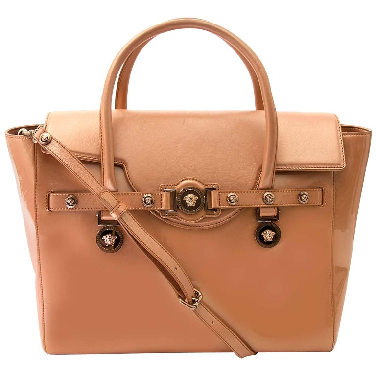 Versace Gold Rose Signature Patent Large Tote Bag