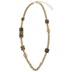 CHANEL 'Paris-Byzance' Couture Gilt Metal Necklace, CC and Molten Glass