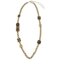 CHANEL 'Paris-Byzance' Couture Gilt Metal Necklace, CC and Molten Glass