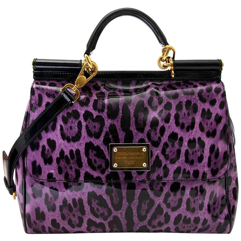 Dolce Gabbana Purple Patent Miss Sicily Leopard Print Bag For