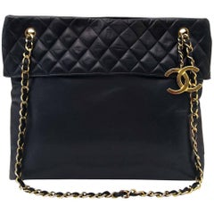 Chanel Blue Quilted Shopper Tote