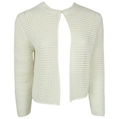 Akris Off White Cotton Crochet Bolero