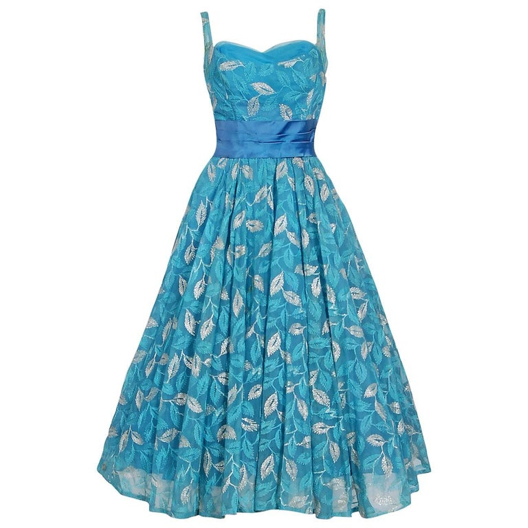 1950's Metallic Leaves Embroidered Blue Chiffon Sweetheart Sash-Bow Party Dress