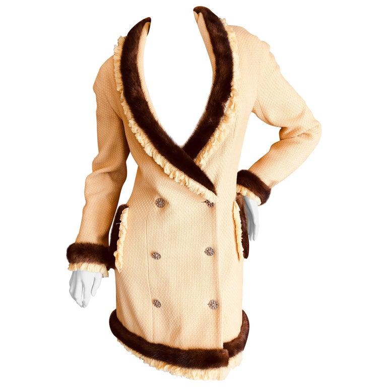 Christian Dior by John Galliano Autumn 1997 Mink Trim Yellow Boucle Coat Dress