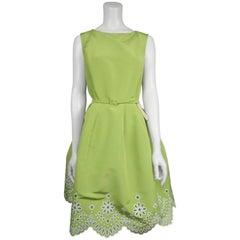 Oscar De La Renta Lime Green and White Eyelet Silk Chartreuse Dress - 10 - NWT
