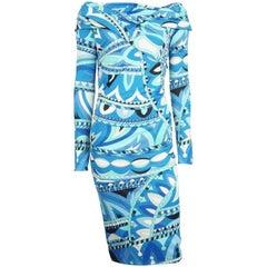 Emilio Pucci Blue Printed Off The Shoulder Dress - 44 - NWT