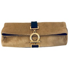 Gianni Versace Beige and Black Pony Hair Clutch