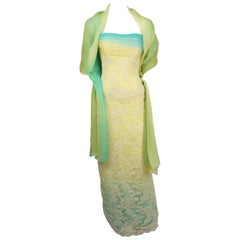Vickey Tiel Couture Yellow & Turquoise Lace and Silk Gown w/ Shawl - 6