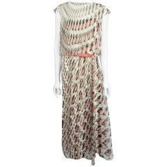 Carolina Herrera Ivory, Navy, and Coral Silk Chiffon Maxi Dress - 8