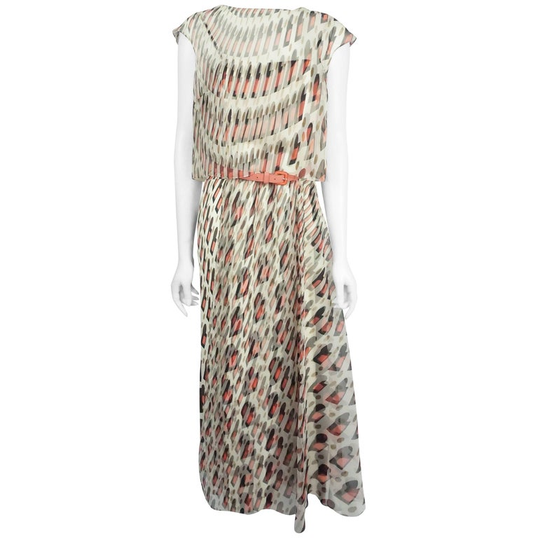 Carolina Herrera Ivory, Navy, and Coral Silk Chiffon Maxi Dress - 8