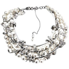 Chanel Three-Strand Graduated Pearl and Crystal Coil Choker Necklace, 2016