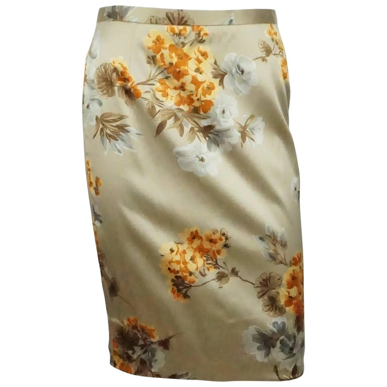 Dolce & Gabbana Champagne Floral Print Silk Skirt - 42