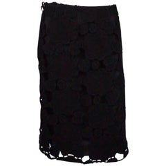 Miu Miu Black Wool Cutout Skirt - 42