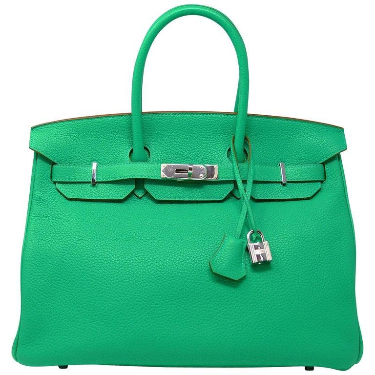Hermes Birkin Bag 35cm Green Menthe Leather with Palladium Hardware