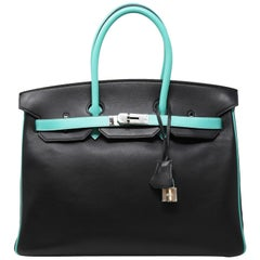 Hermes Birkin Bag 35cm HSS Bi Color Black and Lagoon PHW
