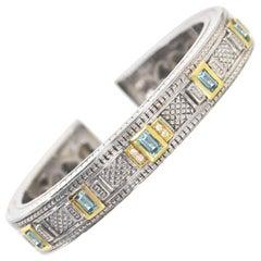Judith Ripka Sterling & Gold Kick Cuff Bracelet with Dust Bag