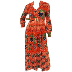 1970s Joan Leslie Red Floral Knit Wear Maxi Dress