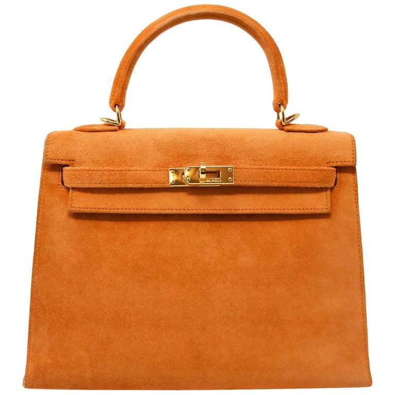 Hermes Kelly Sellier Bag 25cm Orange Suede with Gold Hardware For Sale