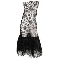 Sheer Black Lace Fluted Ruffle Dress, 1920s