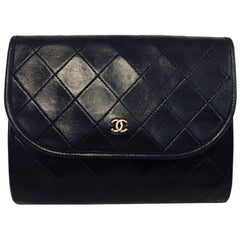 Chanel Vintage Convertible Black Clutch Diamond  Bag