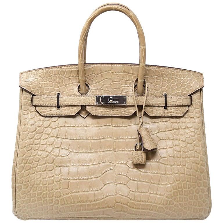 Hermes Birkin Bag 35cm Natural Alligator with Palladium Hardware For Sale df224f2324822