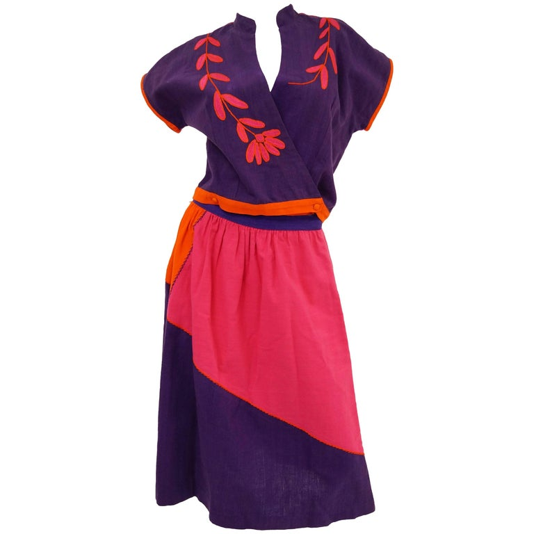 1960s Josefa Pink, Orange, and Purple Embroidered Mexican Shirt and Top