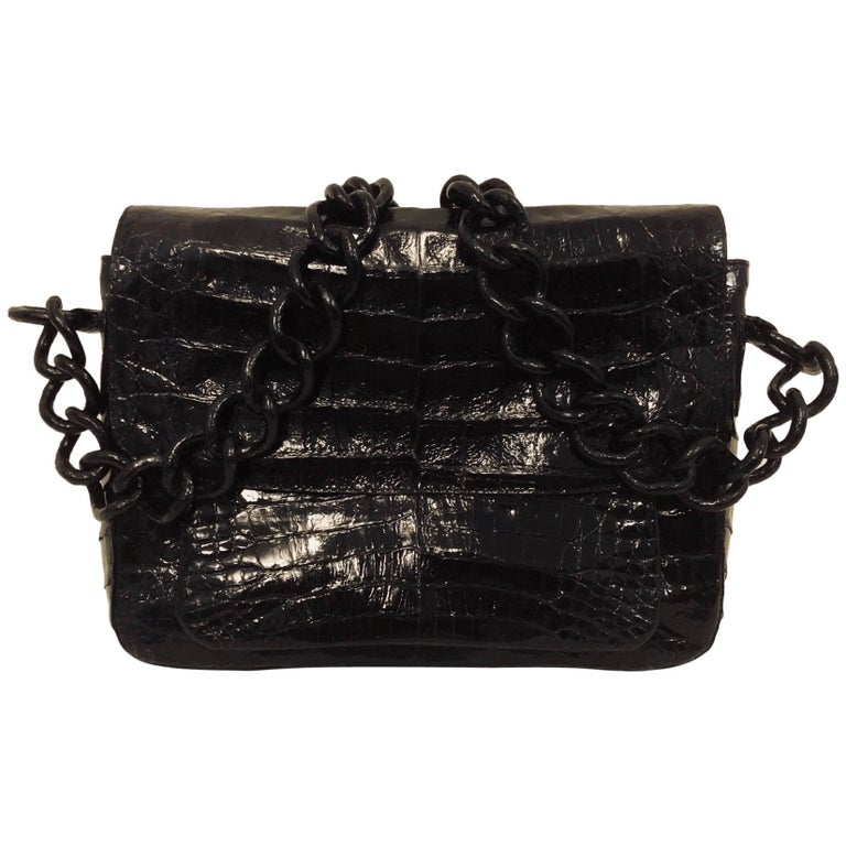Notable Nancy Gonzalez Black Crocodile with Croc Covered Chain Strap