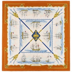 "HERMES Hugo Grygkar ""La Marine en Bois"" Nautical Ship Trident Print Silk Scarf"
