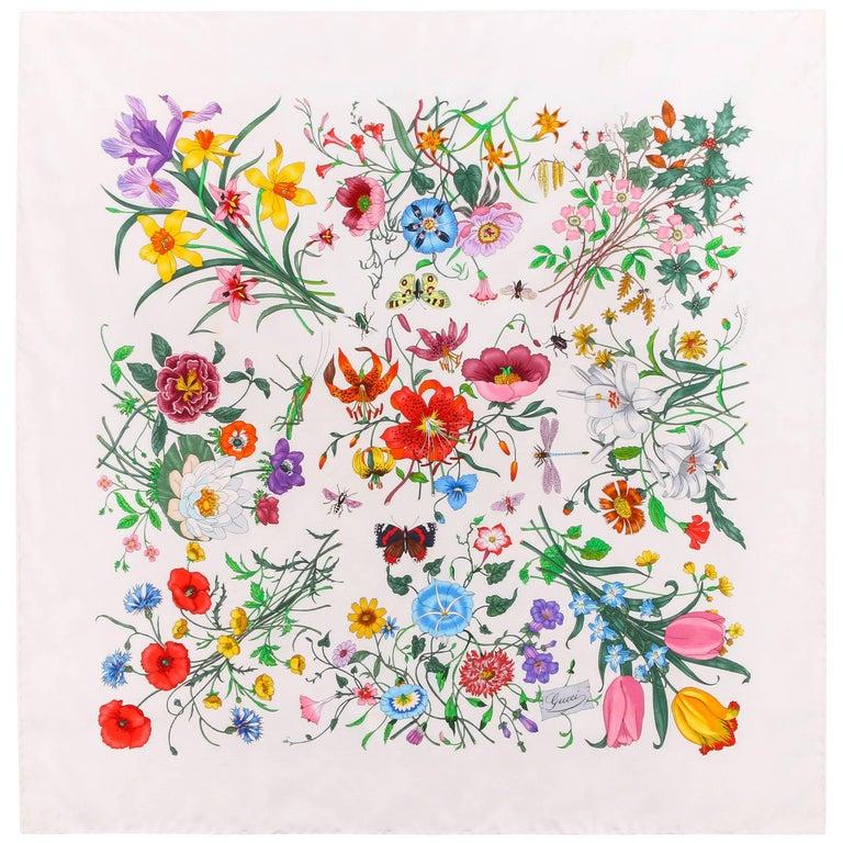 """GUCCI Vittorio Accornero """"Flora"""" White Multicolor Iconic Floral Print Silk Scarf"""