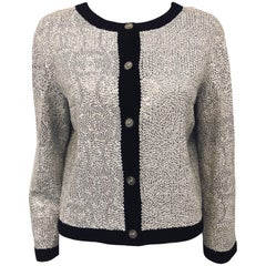 Conversational Chanel Word and Letters Sequined Black & White Cashmere Cardigan