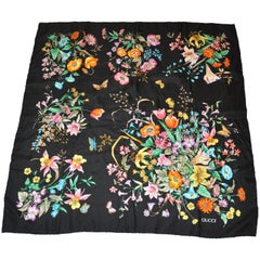 "Gucci Signature Black ""Collections of Floral Silk Jacquard Scarf"