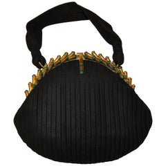 Black Brush-Suede Accented with Gilded Gold Hardware & Peridot Stones Handbag
