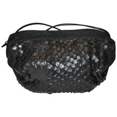 Carlo Falchi Black Suede Accented with Crocodile-Skin Shoulder Bag