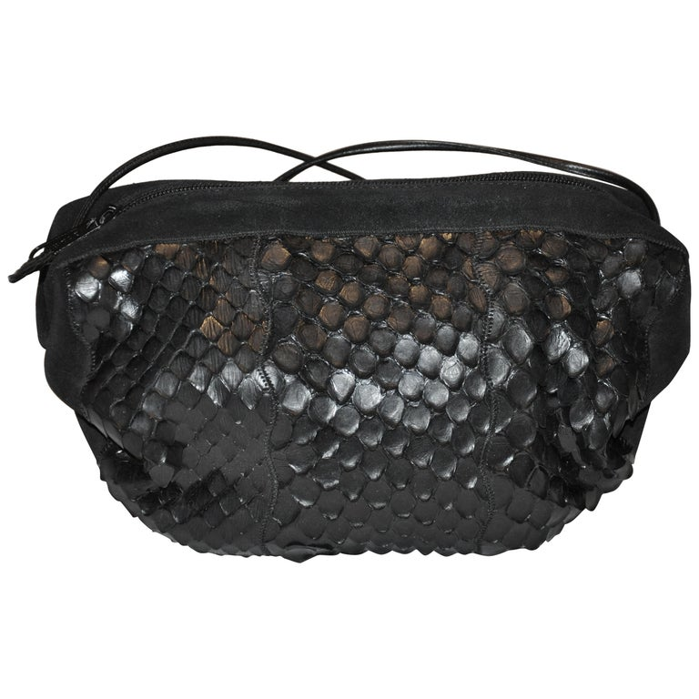Carlo Falchi Black Suede Accented with Crocodile-Skin Shoulder Bag For Sale