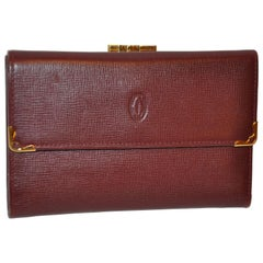 Cartier Signature Burgundy Textured Calfskin Billfold / C.C. / Change Purse